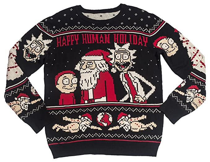 Ripple Junction Rick and Morty Happy Human Holiday Adult Knit Sweater Small Black
