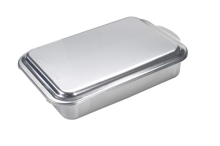 "Nordic Ware 9"" x 13"" Rectangular Cake Pan with Lid, Silver"