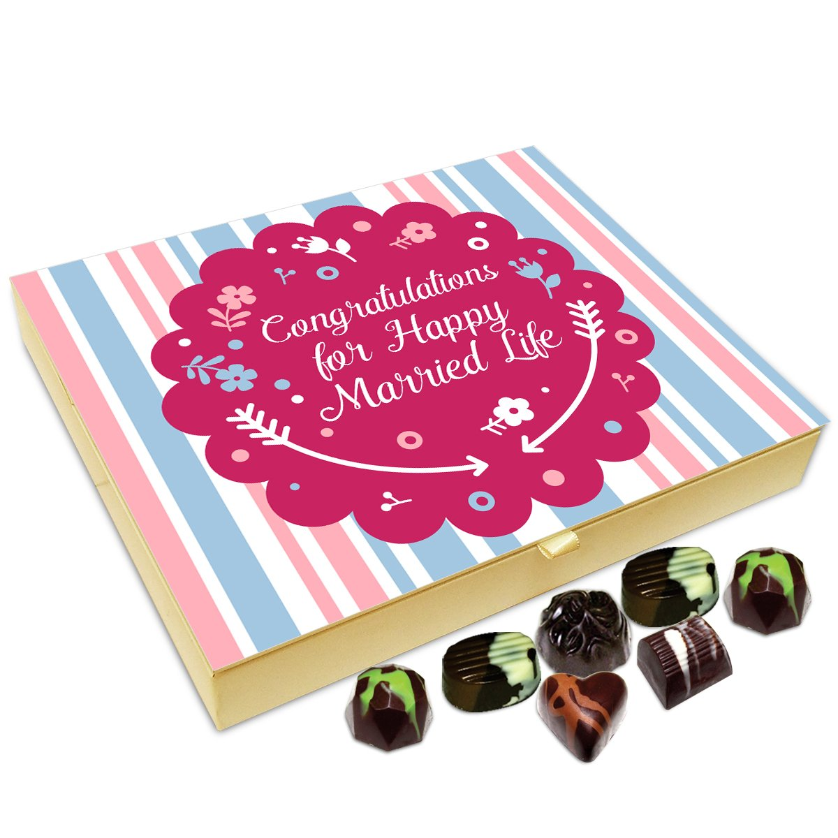 Chocholik Anniversary Gift Box – Congratulations for A Happy Married Life Chocolate Box – 20pc