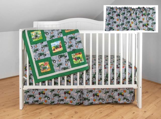 Oliver Tractor Crib Bedding Nursery Set, Gray