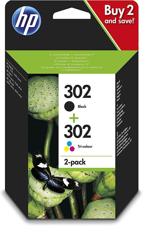 HP 302 X4D37AE pack de 2, cartouches d'encre Authentique, Noir et trois couleurs, imprimantes HP DeskJet, HP OfficeJet et HP ENVY (Cyan, Magenta et Jaune)