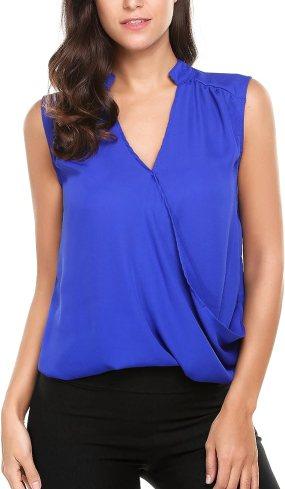 Zeagoo Women's Sleeveless Draped Surplice V-Neck Top Dark Blue