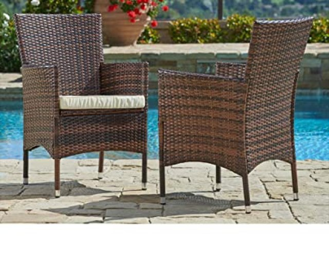 Suncrown Outdoor Furniture Wicker Chairs 2 Piece Set Thick Durable Cushions