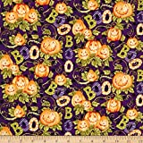 Springs Creative Products 0593840 Springs Creative Seasonal Halloween Happy Haunting Pattern Multi Fabric by The Yard, Multicolor