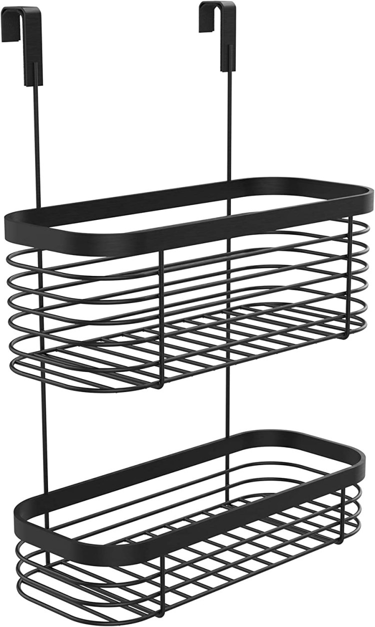 Amazon Com Lilimpact Metal Over The Cabinet Kitchen Storage Organizer Basket For Kitchen Pantry Large Black Black Home Improvement