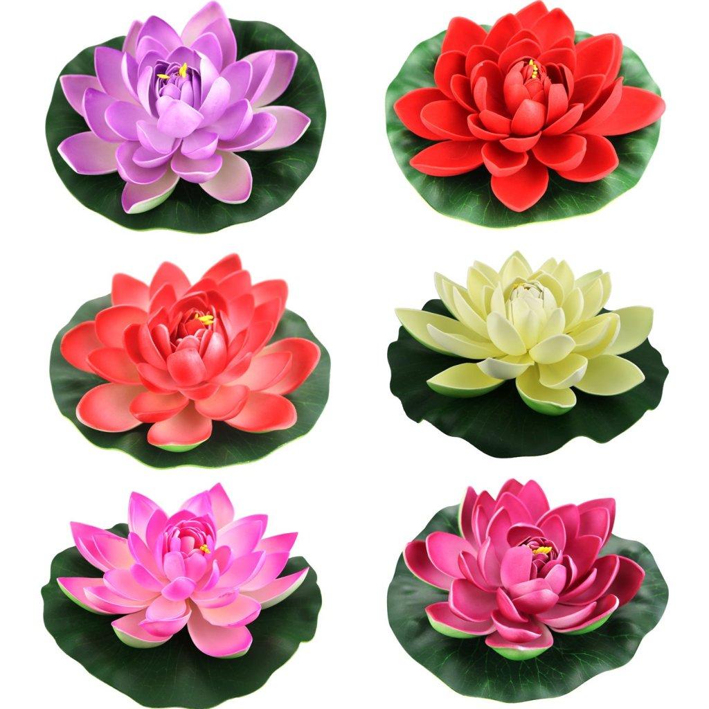 Lightingsky Artificial Floating Foam Lotus Flower Pond Decor Water Lily (6 Colors-1, Meduim-18cm)