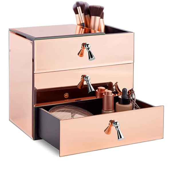 Rose Gold Makeup Jewelry Organizer with Drawers
