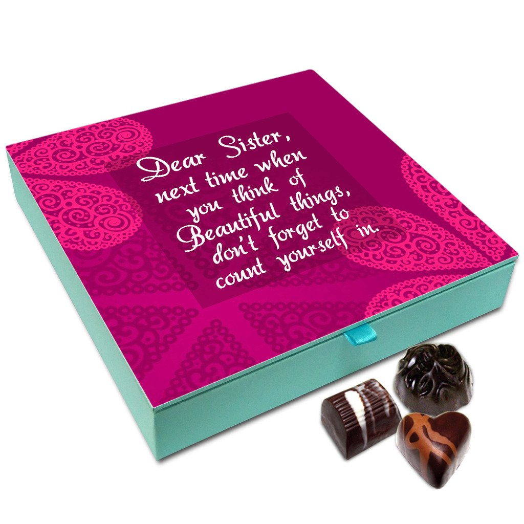 Chocholik Rakhi Gift – Sister Count Yourself in The Most Beautiful Things Chocolate Box for Sister – 9pc