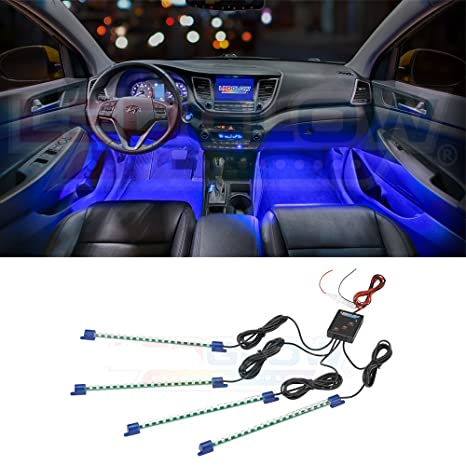 Ledglow 4pc Blue Led Car Interior Underdash Lighting Kit Universal Fitment Music Mode