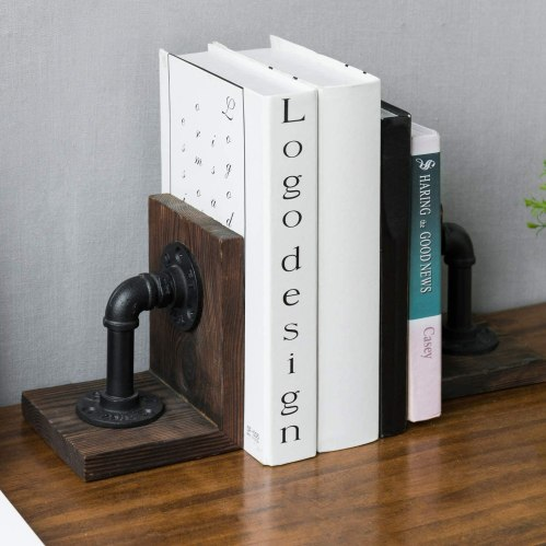 Metal pipe bookend