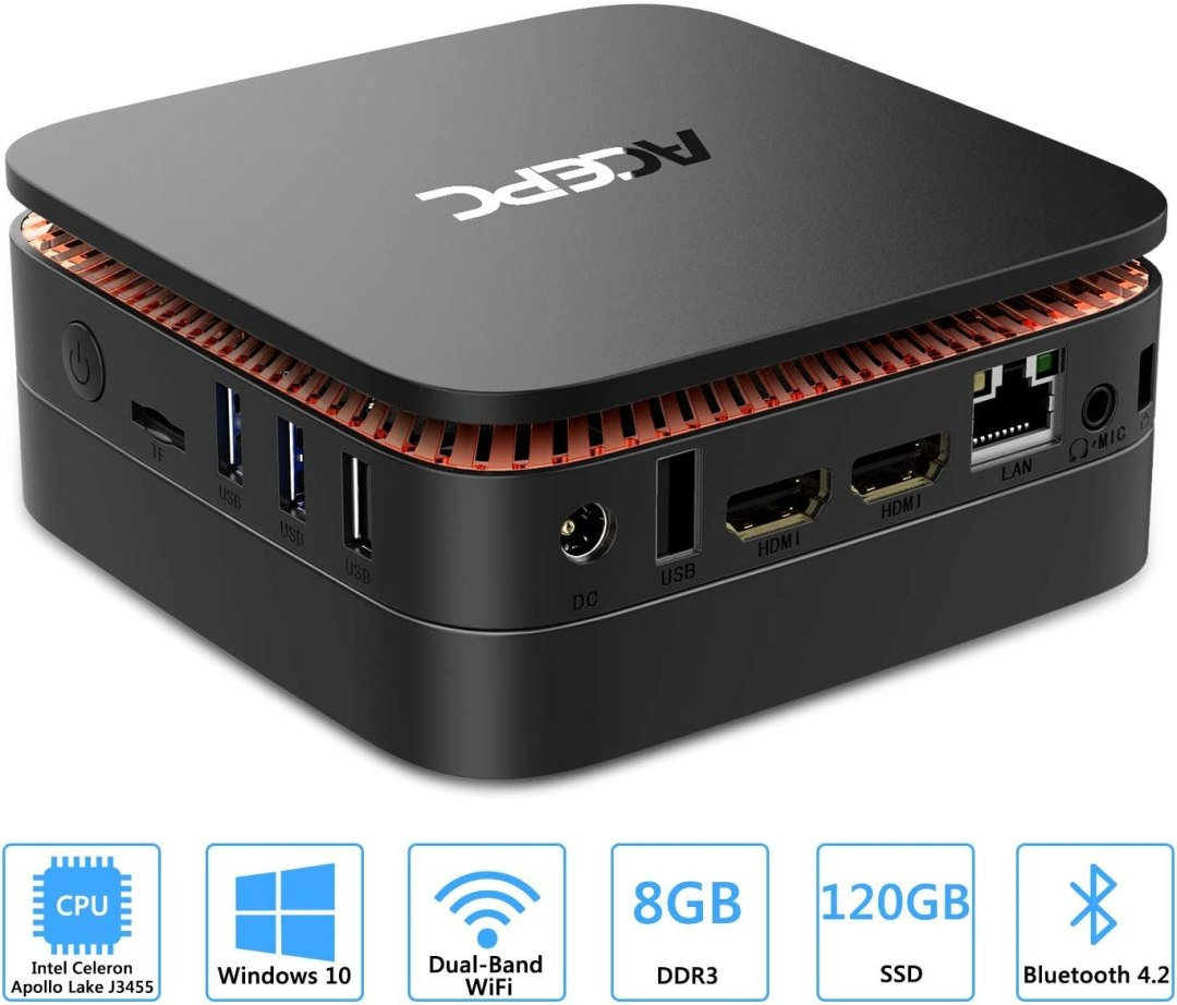 "ACEPC AK1 Mini PC,Windows 10(64 Bits) Ordinateur de Bureau Intel Celeron Apollo Lake J3455 (jusqu'à 2,3 GHz)[8GB/120GB/Support 2.5"" SSD/mSATA/Double WiFi/Gigabit Ethernet/BT 4.2/4K]"