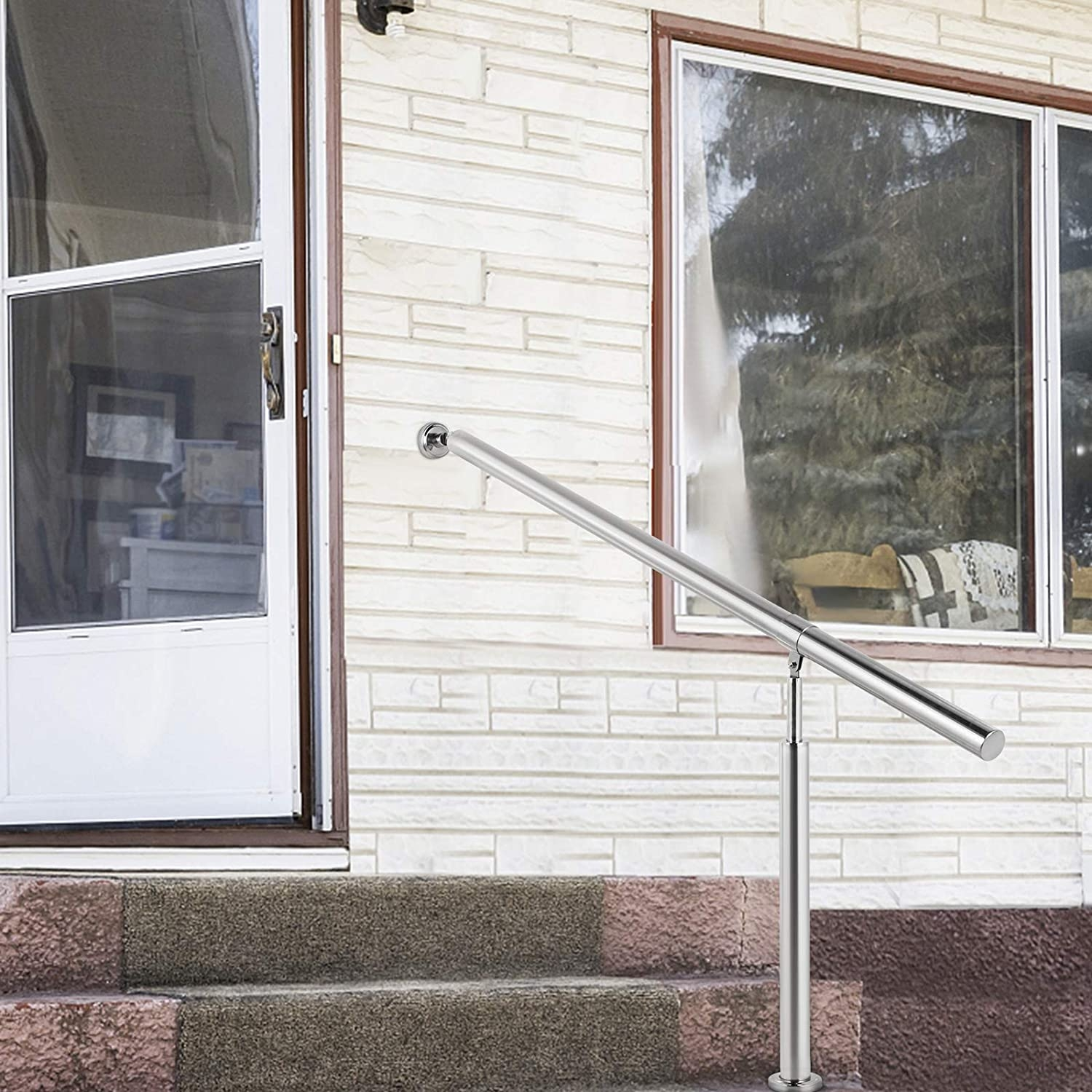 Happybuy Step Handrail Stainless Steel Stair Railing For In And   Ss Handrails For Stairs   Flat Steel   Mild Steel Handrail   Metal   Steel Railing   Commercial Building