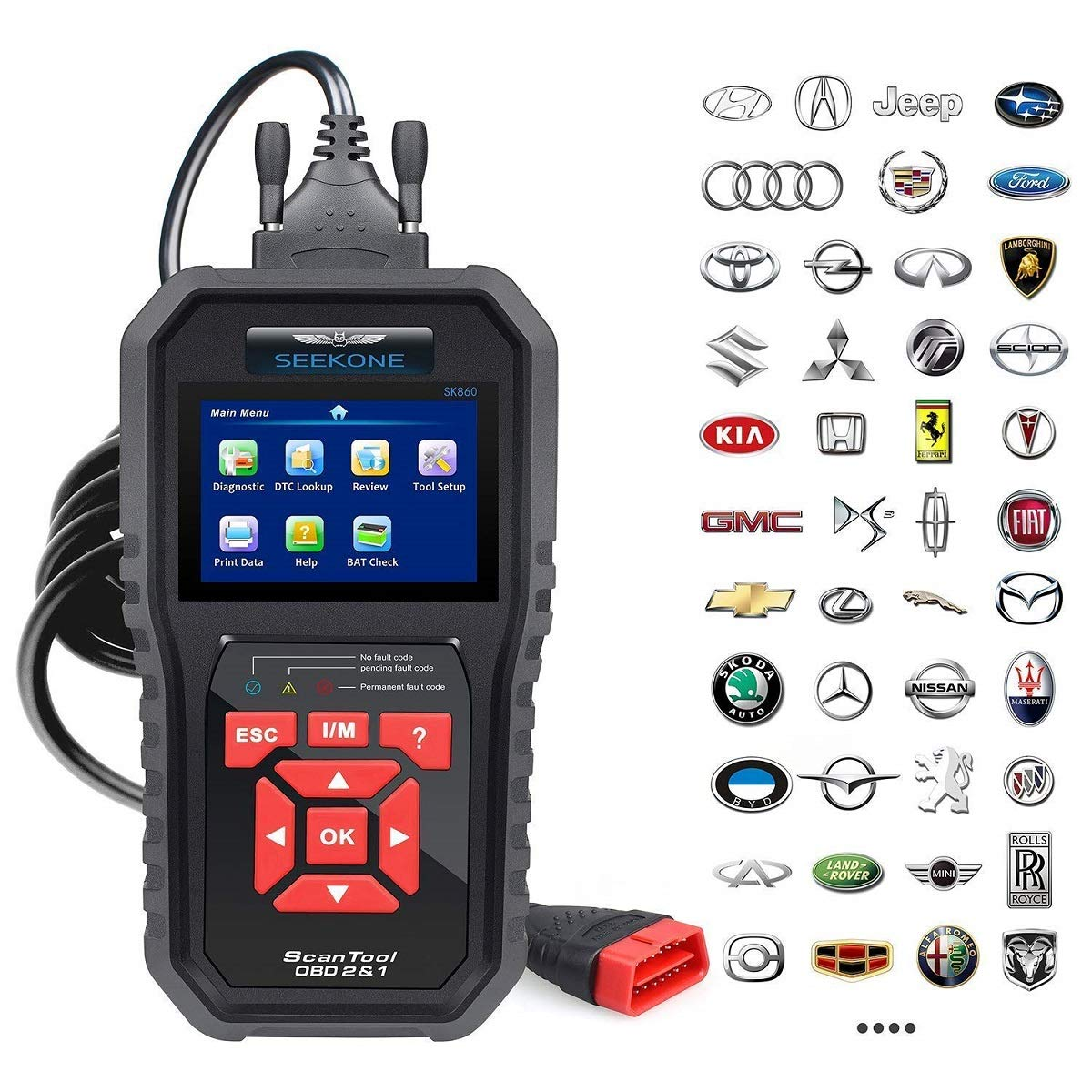 Best Car Diagnostic Scanners Reviews SEEKONE OBD2 Scanner Professional Car OBD II Scanner Auto Diagnostic Fault Code Reader Automotive Check Engine Light Diagnostic EOBD Scan Tool for All OBDII Protocol Cars Since 1996(Enhanced SK860)