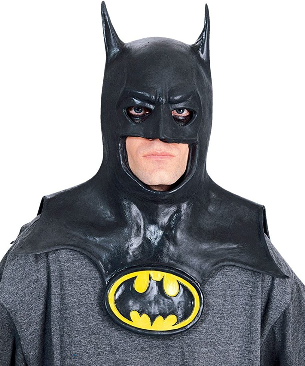Amazon Com Rubie S Batman Movie Deluxe Overhead Mask With Cowl Black One Size Clothing
