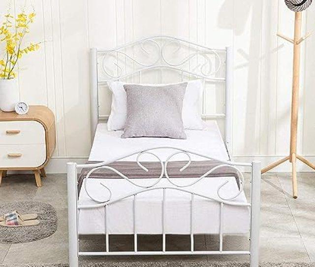 Mecor Twin Curved Metal Bed Frame Mattress Foundation Platform Bed For Kids Girls Boys