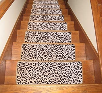Seloom Stair Treads Carpet Non Slip With Skid Resistant Rubber   Leopard Carpet On Stairs   Zebra Print   Giraffe Print   Milliken   Patterned   Antilocarpa