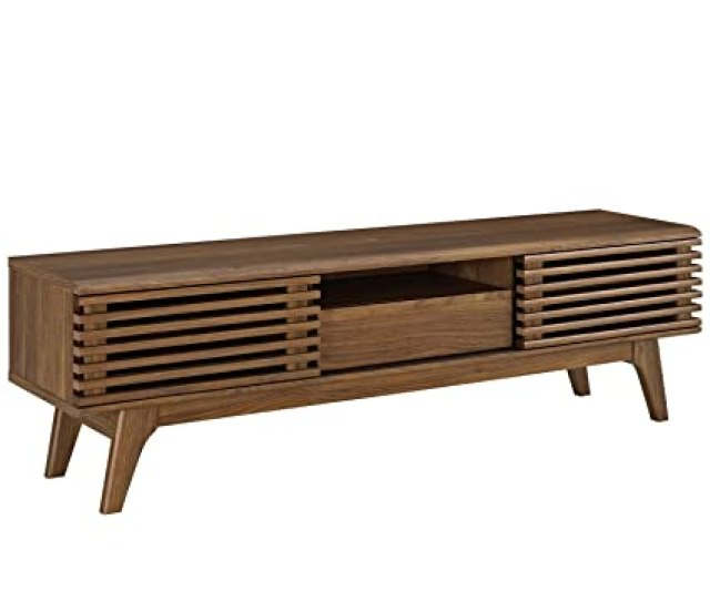 Amazon Com Modway Render Mid Century Modern Low Profile 59 Inch Tv Stand In Walnut Kitchen Dining