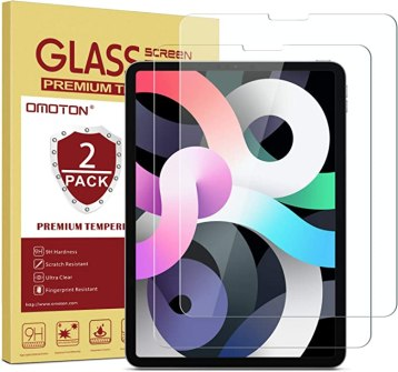 OMOTON [2 Pack] Screen Protector Compatible with iPad Air 4 10.9 Inch 2020 / iPad Pro 11 [Compatible with Apple Pencil] - Tempered Glass Compatible With iPad Air 4th Generation