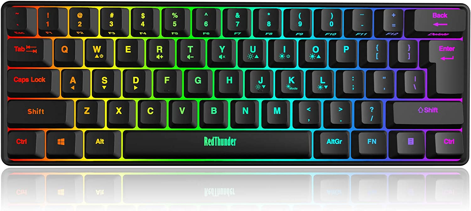 RedThunder 60% Wired Gaming Keyboard, RGB Backlit Ultra-Compact Mini Keyboard, Quiet Ergonomic Water-Resistant Mechanical Feeling Keyboard for PC, MAC, PS4, Xbox ONE Gamer