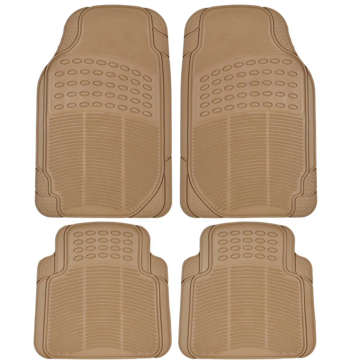 Best Floor Mats Reviews BDK Universal Fit 4-Piece Heavy Duty All Weather Protection Floor Mat - Rubber