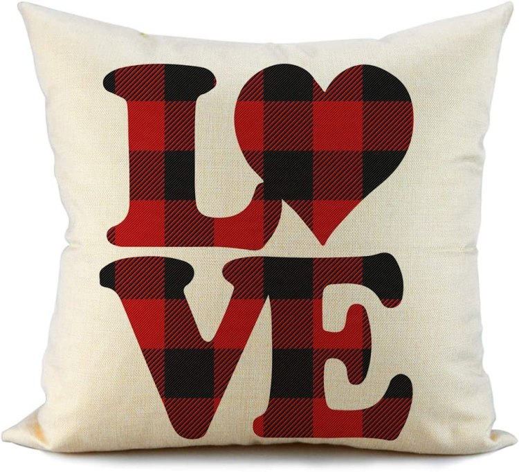 Amazon Com Fiberomance Valentines Red And Black Buffalo Check Plaid Love Pillow Covers Decorative Cushion Case For Sofa Couch Bedroom Spring Home Decor Cotton Pillowcase 18 X 18 Inch Home Kitchen