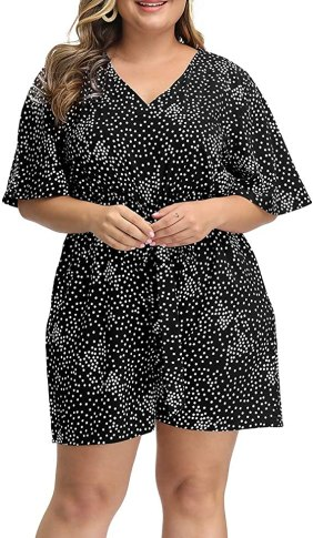 Allegrace Women's Summer Casual Plus Size V Neck Wave Point Short Sleeve Loose Jumpsuit Rompers
