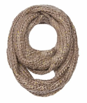 Peach Couture Winter Warm Thick Chunky Knit Cozy Infinity Loop Cowl Scarves (Tan Gold Flake)