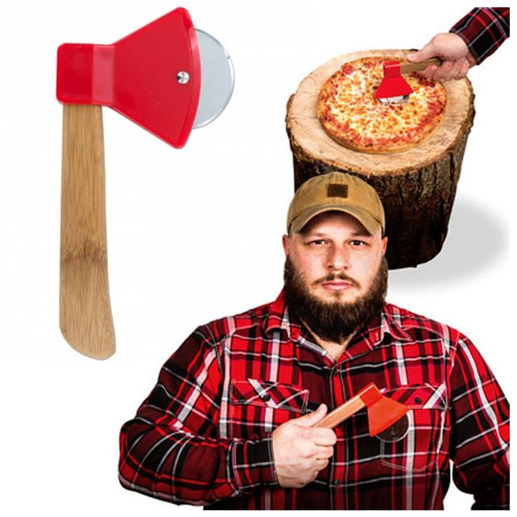 A pizza cutter shaped like an axe on the left with a lumberjack on the right.