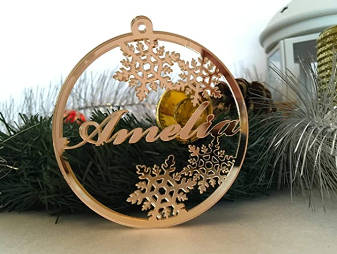 Personalized Christmas Ornament Laser Cut Bauble Custom Name Babys First