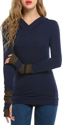 Zeagoo Women Color Block Sleeves Hooded Thumb Hole Sleeves Sweatshirt