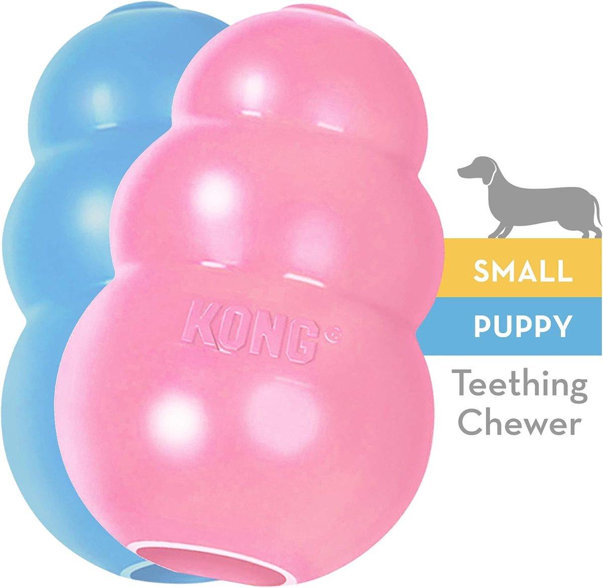 KONG - Puppy - Juguete de caucho natural para dentición - Cachorro S (colores pueden variar)
