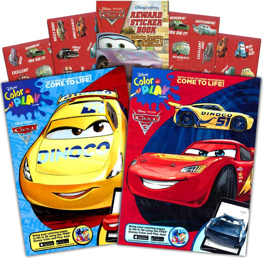 Amazon Com Disney Cars Coloring Book Set 2 Books Featuring Lightning Mcqueen 96 Pages Int Ed Toys Games