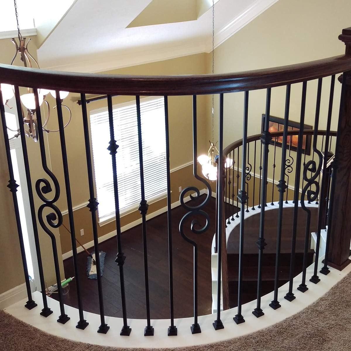 10 Pack Satin Black Stair Parts Modern Hollow Nautilus Scroll | Modern Black Metal Stair Railing | Balcony | Really Thin | Outdoor | Metal Mesh | Dark Wood