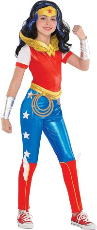 Costumes USA DC Super Hero Girls Wonder Woman Jumpsuit Costume for Girls, Includes Jumpsuit and a Headpiece