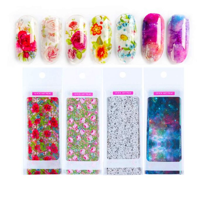 Amazon Com 40pcs Set Nail Foil Transfer Sticker Paper Starry Sky Stars Flower Black White Lace Design Nail Art Decoration Decals Beauty