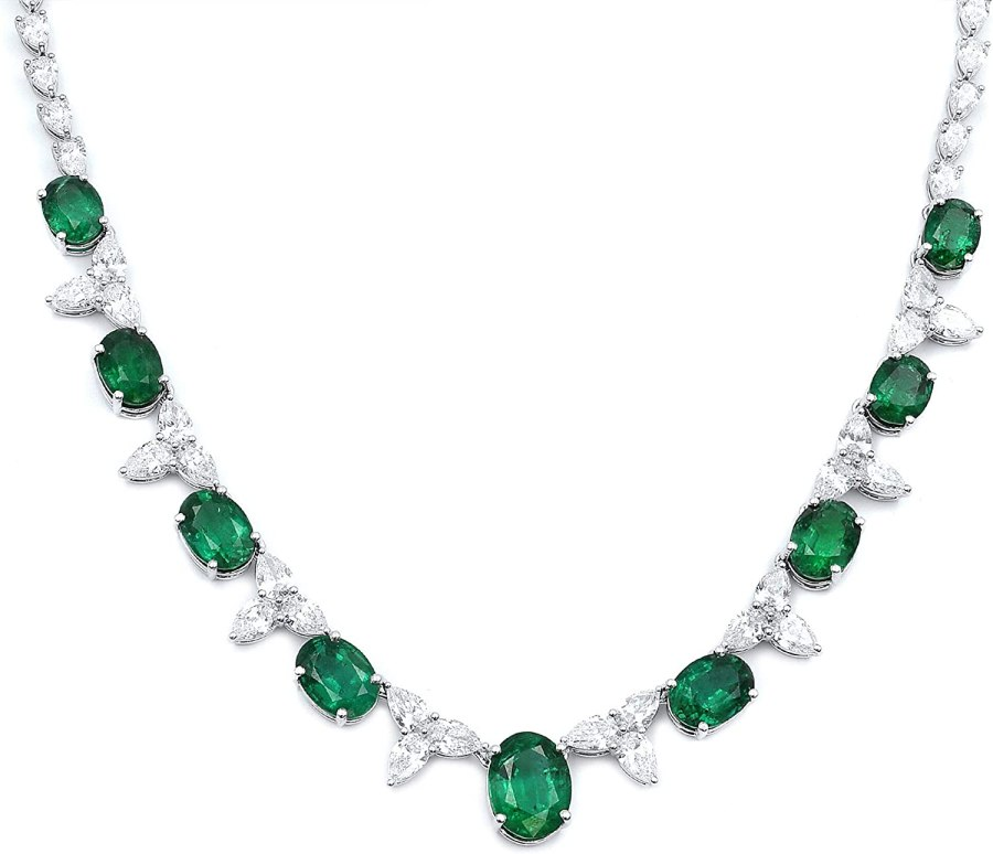Rachel Koen 18K White Gold Oval Green Emerald and Pear Shaped Diamonds Necklace