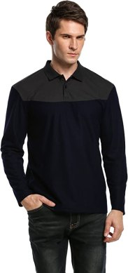Coofandy Men's Turn Down Collar Long Sleeve Loose Casual Polo Shirt Tops(Navy Blue,S)