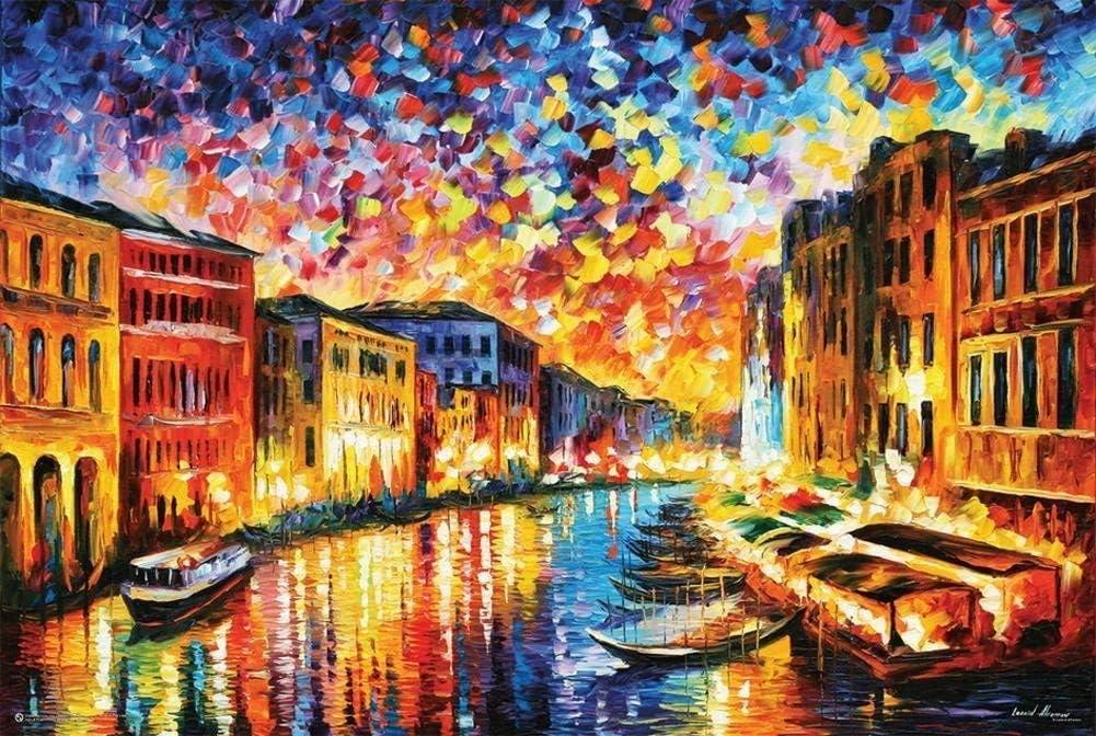 Amazon Com E Leonid Afremov Venice Grand Canal Poster By Leonid Afremov 36 X 24in Posters Prints
