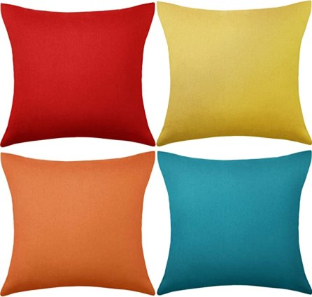 4 Pack Decorative Outdoor Waterproof Throw Pillow Covers, Square Patio Balcony Garden Waterproof Cushion Case, PU Coating Pillow Shell for Couch, Bed, Patio, Sofa, Tent ,18 x 18 Inch (Multi Color)