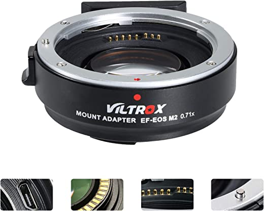 VILTROX EF-EOS M2 Lens Adapter 0.71x Speed Booster for Canon EF Lens to EOS EF-M Mirrorless Camera M3 M5 M6 M10 M50 M100 AF Auto Focus Reducer
