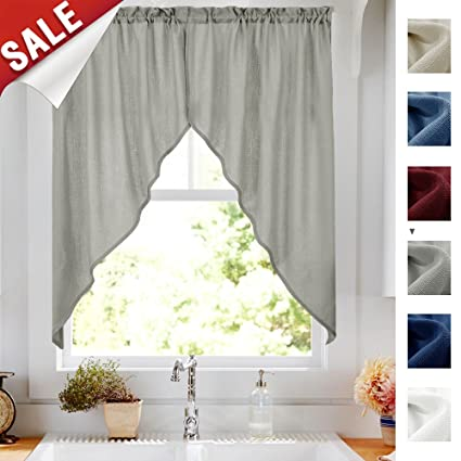 Casual Weave Grey Swag Curtains For Living Room  Inchesgth Home Decor Solid Color Semi