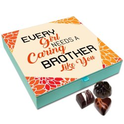 Chocholik Rakhi Gift Box – Every Girl Needs A Caring Brother Chocolate Box for Brother – 9pc