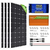 ECO-WORTHY 800 Watt Off Grid Complete Solar Panel System Kit with 4pcs 195W Mono Solar Panel + 3500W 24V-110V Inverter + 60A PWM Charge Controller