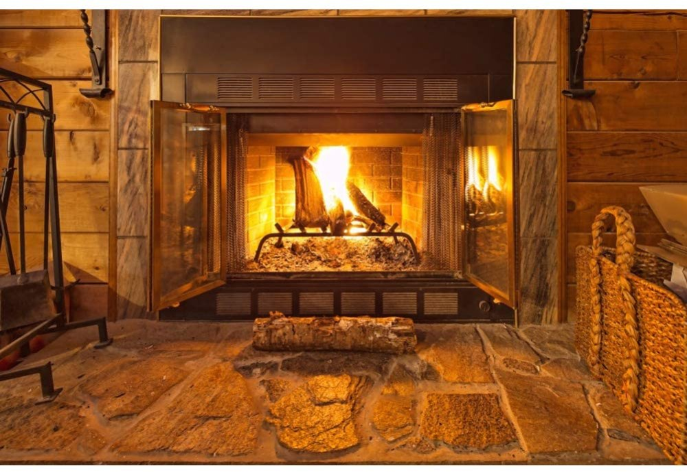 Amazon.com : Leowefowa Warm Fireplace Backdrop 8x6.5ft Vinyl Photography  Backgroud Log Cabin Interior Burning Flames Warmth Winter Backdgroud Manger  Theme Christmas Backgroud New Year Festival Photo Props : Camera & Photo