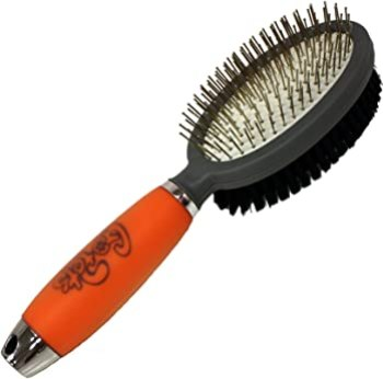 GoPets Professional Double Sided Pin and Bristle Brush - Best Pin And Bristle Combination Brush For Pitbull