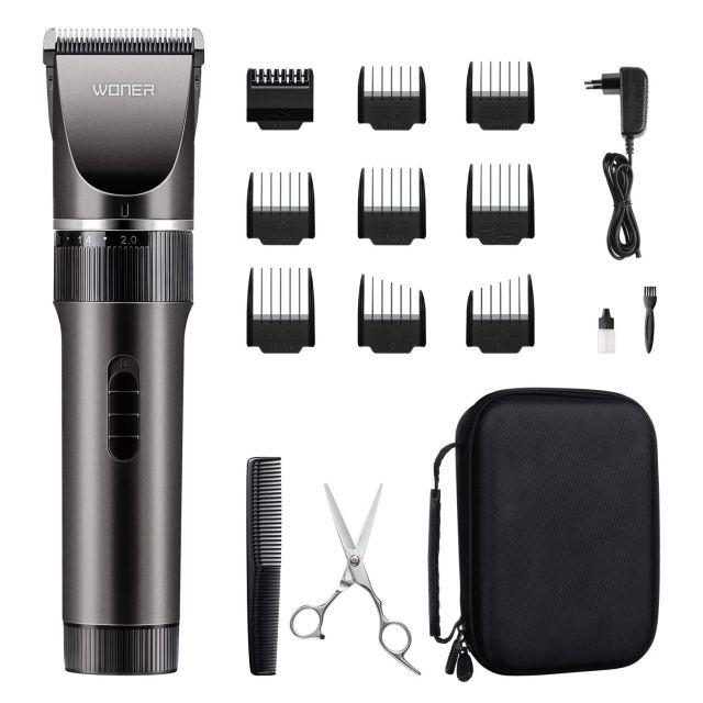 WONER Haarschneidemaschine Profi Männer Haarschneider für Akku-und Netzbetrieb, 35 Längeneinstellungen, 2000 mAh Lithiumbatterie, Bartschneider Langhaarschneider MEHRWEG