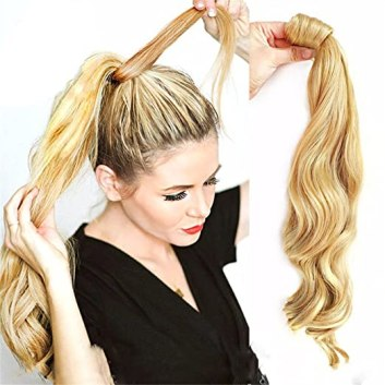 Remeehi Real Human Hair Ponytail Extensions Clip in Body Wavy Wrap Around Ponytail Hairpieces 100g (18inch 24# Light Blonde)