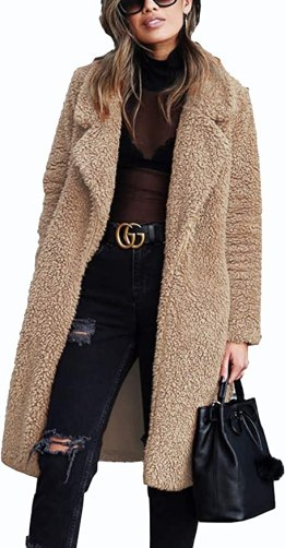 TEMOFON Women's Fuzzy Fleece Lapel Open Front Coats Winter Long Sleeve Faux Fur Cardigan Jackets Outwear with Pockets Dark Camel M