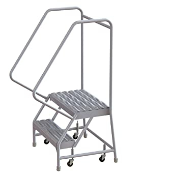 Tri Arc Wlar102165 2 Step All Welded Aluminum Rolling Industrial   Aluminum Steps With Handrail   Boat Dock   Wheelchair Ramp   Stair Treads   Folding   Stair System