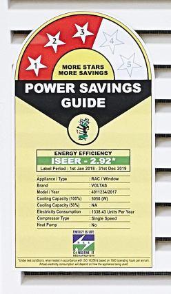 Power Saving Guide Voltas 1.5 Ton 3 Star Window AC (Copper 183 DZA/ 183 DZA R32 White)